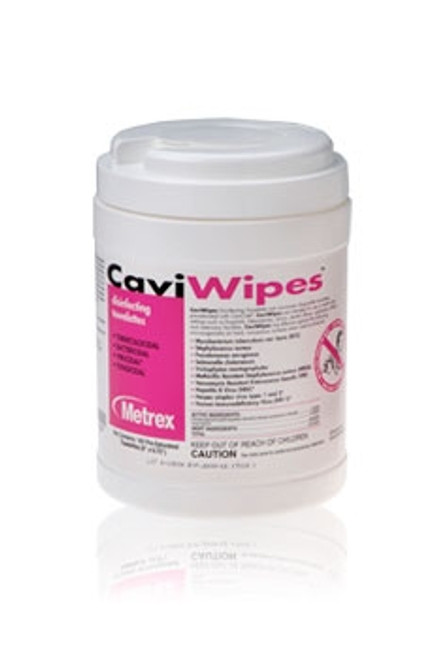 CaviWipes is a wipe pre-saturated with Cavicide surface disinfectant. CaviWipes are durable, nonwoven, nonabrasive towelettes that offer fast, easy use, time saver convenience. Recommended for use on non-porous surfaces and fixtures.