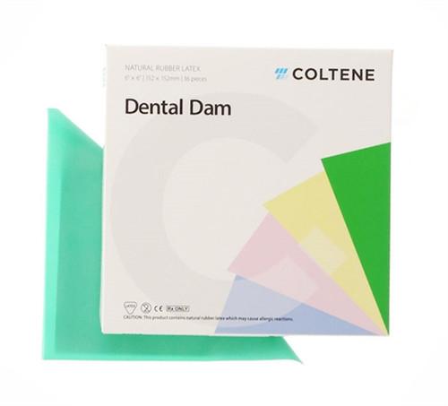 "Coltene Hygenic Latex Dental Dam 6""x6"" Medium Green 36/box"