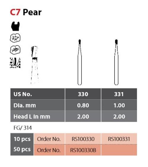 Coltene Alpen SteriX Operative Sterile Carbide Bur Pear C7 #330 FG/314, 10/pkg