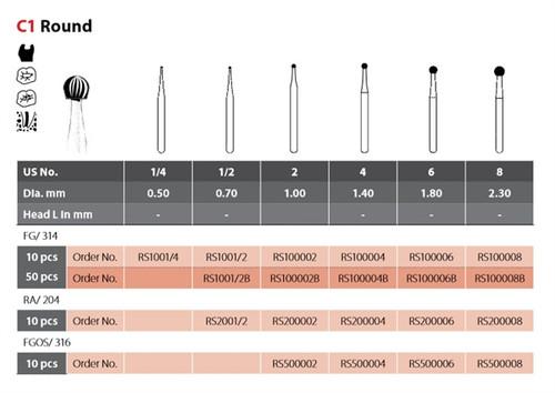 Coltene Alpen SteriX Operative Sterile Carbide Bur Round C1 #4 RA/204, 10/pkg