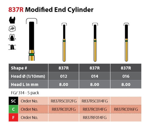 Coltene Alpen Multilayer Diamond Bur Modified End Cylinder #837R FG/314 Coarse 5/pkg