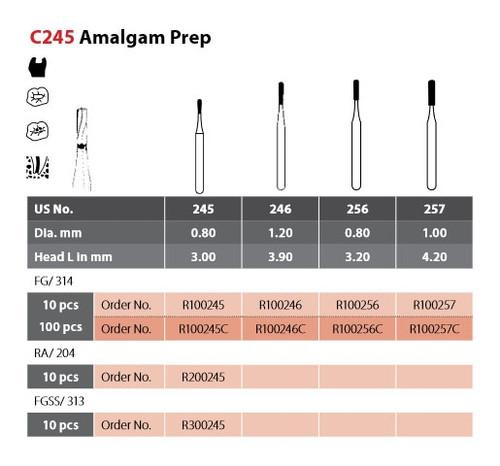 Coltene Alpen Operative Carbide Bur Amalgam Prep C245 #245 FG/314 Clinic Pack, 100/pkg
