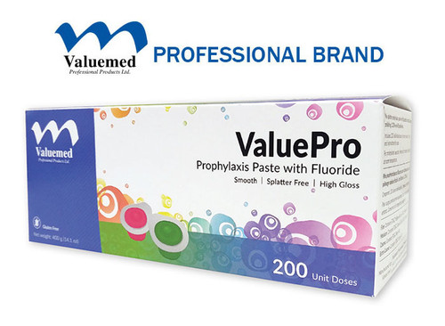 ValuePro prophy paste includes 1.23% fluoride ions to help tooth remineralization and strengthen tooth enamel. Gluten free. Made in the USA.