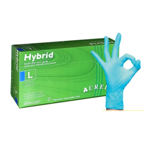 Aurelia Hybrid Vinyl/Nitrile Blend Powder Free gloves provide the strength and protection of nitrile with the cost effectiveness of vinyl. Textured fingertips and a MIL thickness of 4.0 these gloves are providing value and protection.