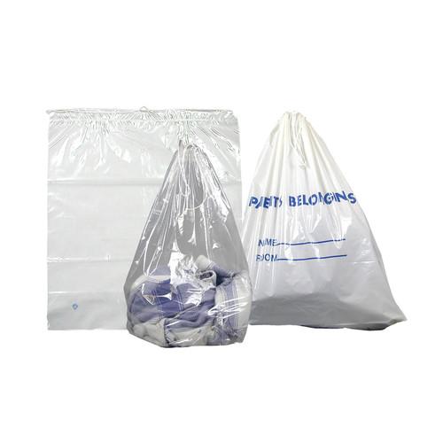 "Patient Belonging Bags 20"" x 20"", White, Drawstring, 250/case"