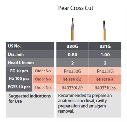 Coltene Alpen Speedster Carbide Bur Pear Cross Cut #330G FG/314 Clinic Pack 100/pkg