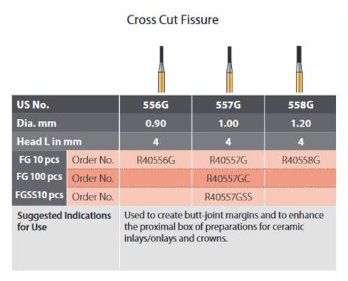 Coltene Alpen Speedster Carbide Bur Cross Cut Fissure #557G FG/314 Clinic Pack 100/pkg