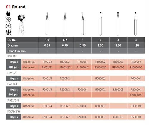Coltene Alpen Operative Carbide Bur Round C1 #2 RA/204, 10/pkg