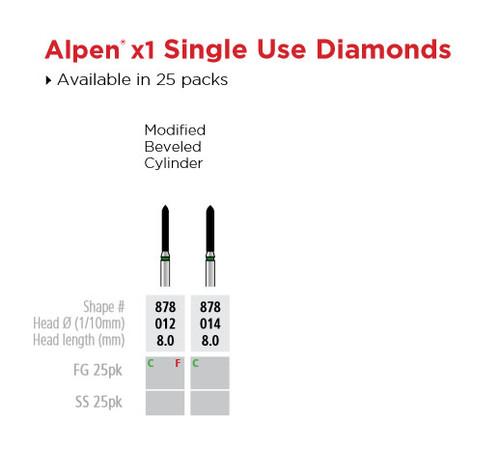 Coltene Alpen X1 Diamond Sterile Burs Modified Beveled Cylinder #878 012 FG 25/pkg