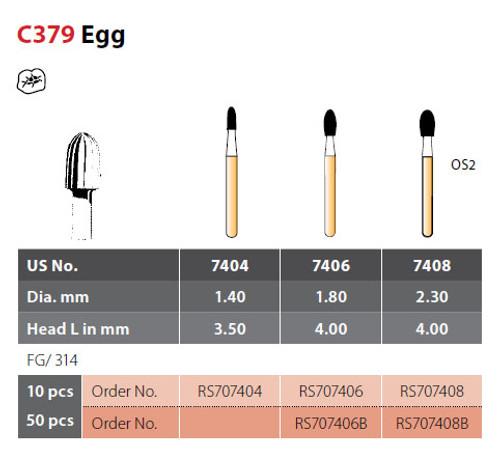 Coltene Alpen SteriX Operative Sterile Carbide Burs Egg C379 #7408 FG/314, 10/pkg