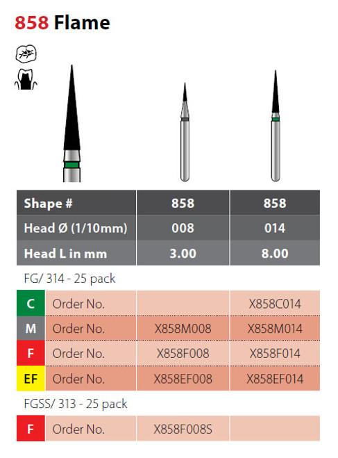 Coltene Alpen X1 Diamond Sterile Burs Flame #858 FG/314, 25/pkg