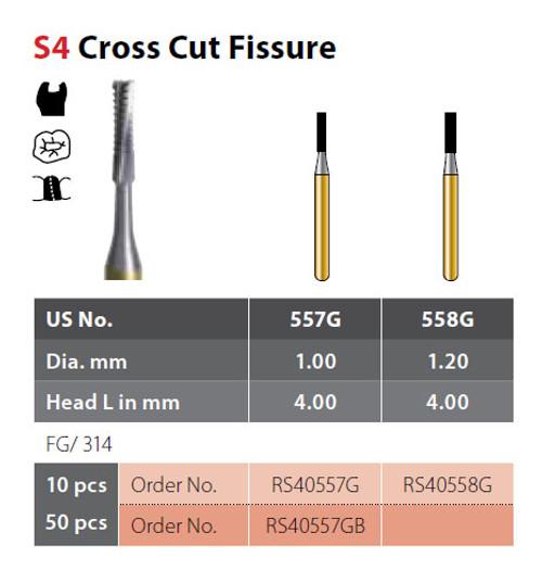 Coltene Alpen SteriX Operative Sterile Carbide Burs Cross Cut Fissure S4 #557G FG/314 Clinic Pack, 50/pkg