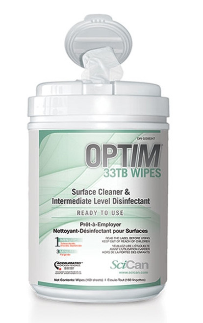 """SciCan Optim 33TB Surface Disinfectant Wipes with Aloe Scent 6"""" x 7"""" 160/tub"""