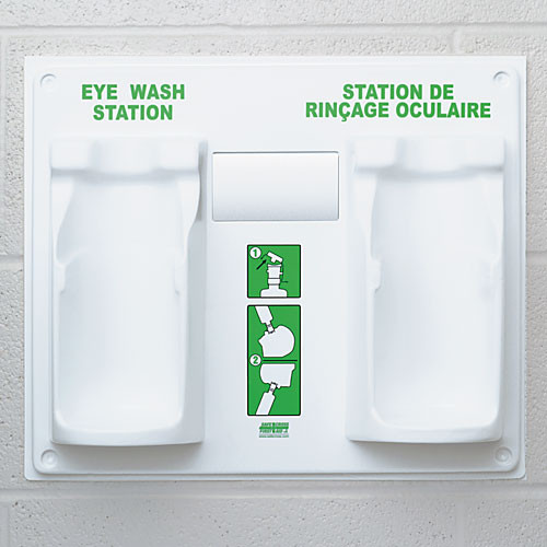 Eye Wash Station - Double Plaque, with 1 Empty 946ml Bottle