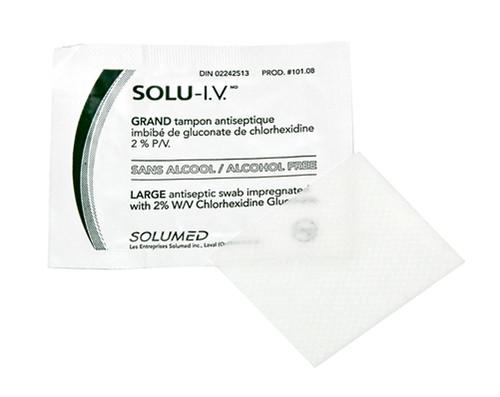 Solu-I.V. Antiseptic Prep Swab Swab Large 2% CHG, Alcohol Free 100/box