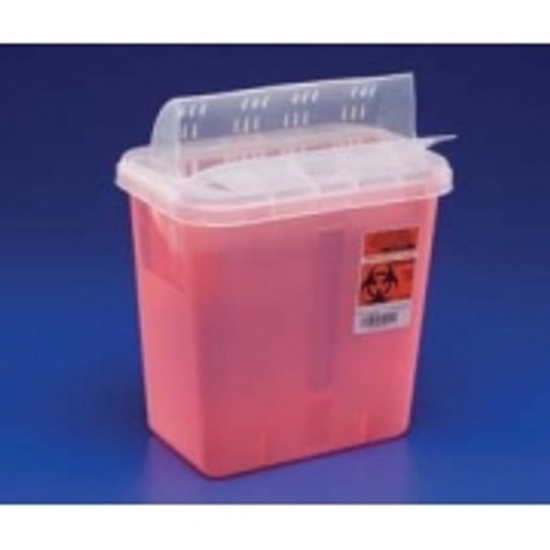 Covidien Multi-Purpose Sharps Container, Horiztonal Drop Lid, 7.6L, Red