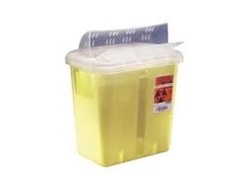 Covidien Multi-Purpose Sharps Container, Horiztonal Drop Lid, 7.6L, Yellow