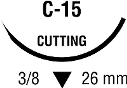 "Medtronic Covidien Suture Sofsilk Black 2-0 18"" (45cm), C-15 26mm, 36/box"