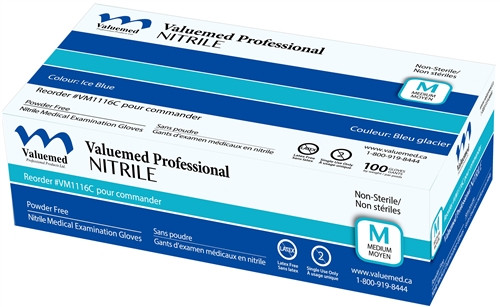 Valuemed Professional Nitrile Exam Gloves, Blue, Powder Free 100/box - Medium