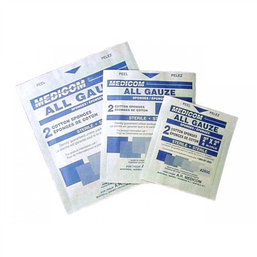 "Valuemed Sterile Gauze 8"" x 4"" 12ply 2/pkg 25pkg/tray"