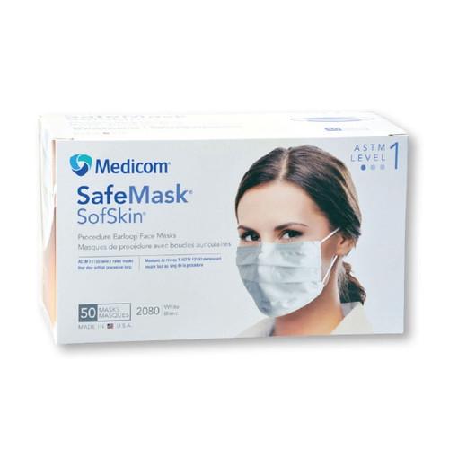 Medicom SafeMask SofSkin Earloop Mask, Level 1, Blue, 50/box