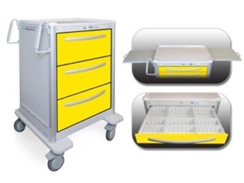 Valuemed 3 Drawer Tall Lightweight Aluminum Isolation Cart