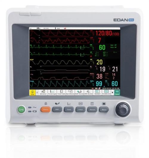 Edan M50 Patient Monitor - 3/5-lead ECG, RESP, EDAN SpO2 NIBP, PR, TEMP, & Printer CO2 Side Stream (Respironics) CO2 Accessories