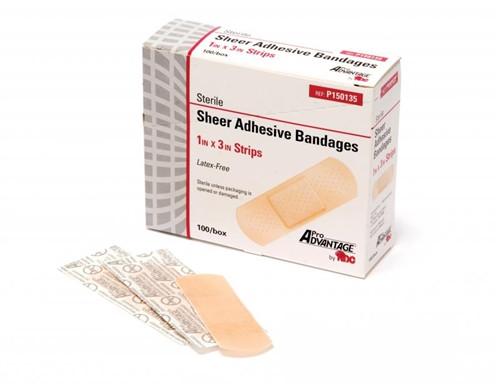 "Adhesive Bandage, Plastic Strip 1"" x 3""  100/box"