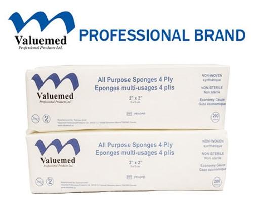 Valuemed Professional Non-Sterile Economy Gauze 2x2 4ply Non-Woven 200/pkg