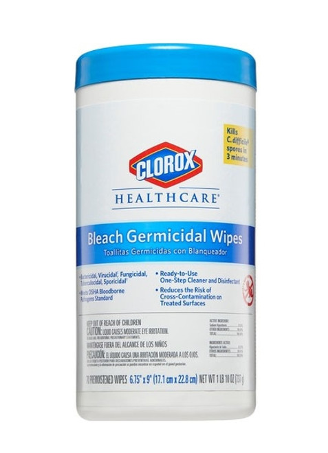 "Clorox Healthcare Bleach Surface Disinfectant Wipes 6.75"" x 9"" 70/tub"