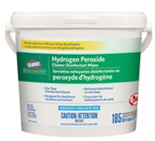 """Clorox Healthcare Hydrogen Peroxide Cleaner Disinfecting Wipes 12"""" x 12"""" 185/tub"""