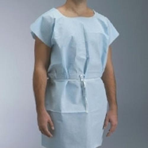 """Pro Advantage Disposable Patient Exam Gown Blue 30"""" x 42"""" Poly/Tissue 50/cs"""