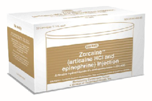 Cook Waite Zorcaine with Epinephrine Injection, Articaine hydrochloride 4% and epinephrine 1:100,000, 50/box