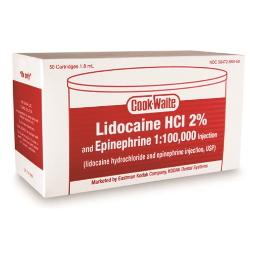 Cook Waite Lidocaine HCl 2% and Epinephrine 1:100,000 Injection Red 50/box