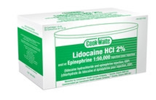 Cook Waite Lidocaine HCl 2% and Epinephrine 1:50,000 Injection Green 50/box