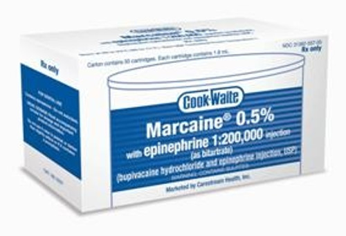 Cook Waite Marcaine 0.5% with epinephrine 1:200,000 injection (as bitartrate) 50/box
