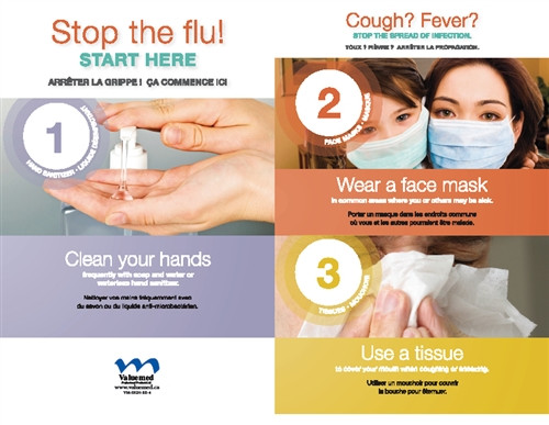 Respiratory Etiquette Sign #4 - Stop The Flu (English & French) Horizontal