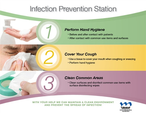 Respiratory Etiquette Sign #5 - Infection Prevention Station (English &) Horizontal