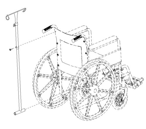Wheelchair IV Pole Attachment