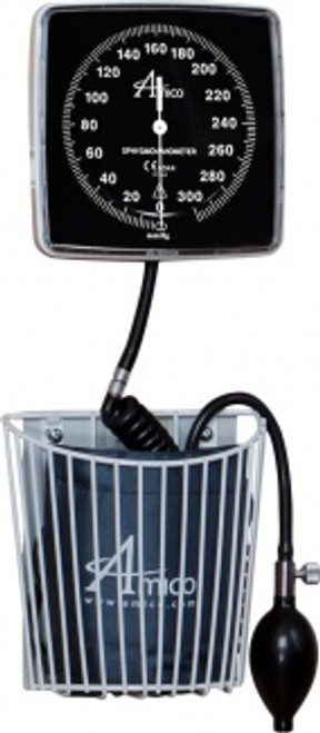 Aneroid Sphygmanometer - Wall Mount with Basket & Adult Cuff