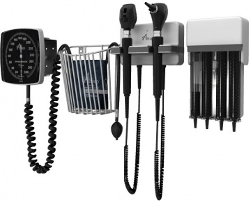 Amico Diagnostic Station with Coaxial Ophthalmoscope, Fiber Optic Otoscope, Specula Dispenser, Aneroid, Cuff Basket, and one Adult Latex-Free Cuff without Backboard