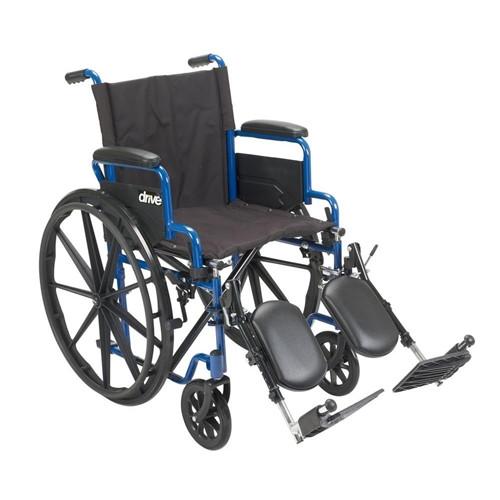 "Blue Streak Wheelchair, 18"", Flip Back Desk Arm, Swing-away, Elevating Leg rests"