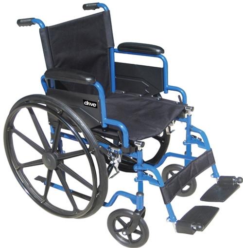 """Drive Blue Streak Wheelchair 18"""", Flip Back Desk Arms, Swing-away Footrests"""
