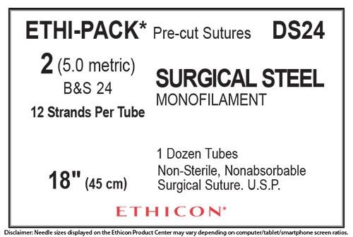 "J&J Ethicon Suture Ethi-Pack Surgical Steel Monofilament 2 DS24, 18""/45cm, No Needle, 12/box"