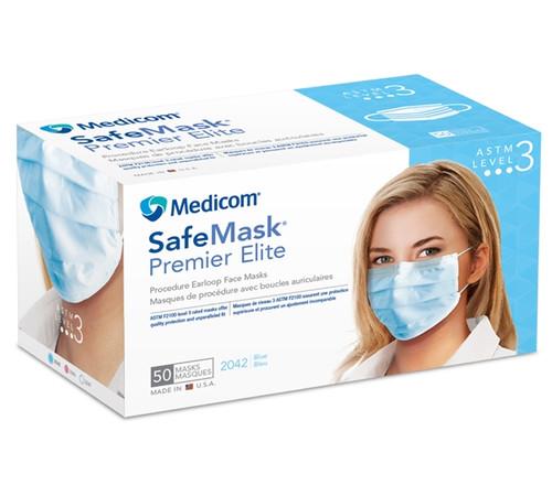 Medicom SafeMask Premier Elite Earloop Mask Level 3, 50/box White