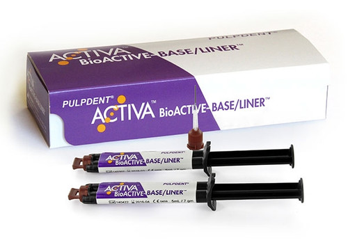 PulpDent ACTIVA BioACTIVE Base/Liner Value Pack, 2 x 5mL/7gm syringe + 40 automix tips
