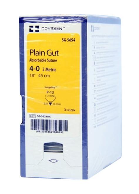 """Covidien Suture Plain Gut Undyed 4-0 SG5654, 18""""/45cm, P-13, 36/box"""