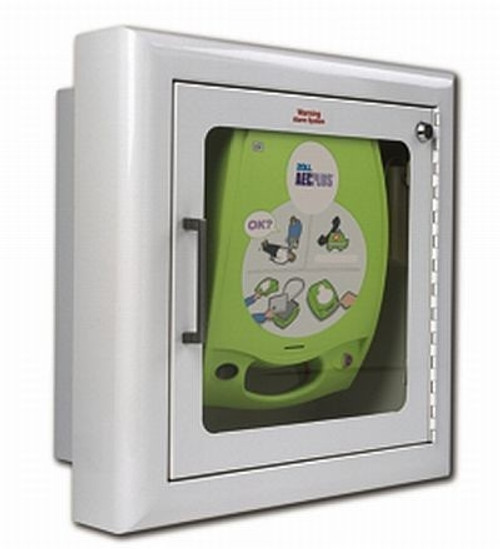 Zoll Semi-Recessed Wall Cabinet, Alarmed, For AED Plus