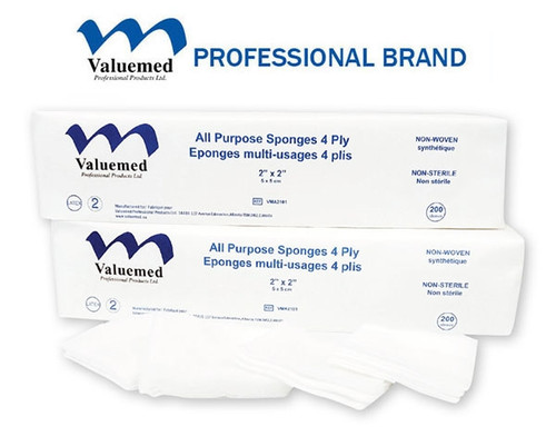 Valuemed Premium non woven gauze is made from the highest quality 40 gram material, and is perfect for procedures where heavy absorption is needed. Non-sterile.