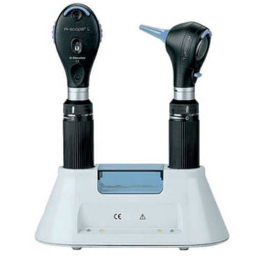 Riester Ri-charger Desk Set, Includes: L2 LED Otoscope 3.5V, L2 Xenon Opthalmoscope 3.5V,  2 C-Type Handles, 2 Batteries, & Desk Charger